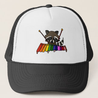 Funny Raccoon Playing Colorful Xylophone Trucker Hat
