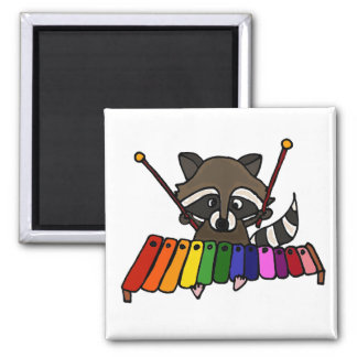 Funny Raccoon Playing Xylophone Refrigerator Magnets