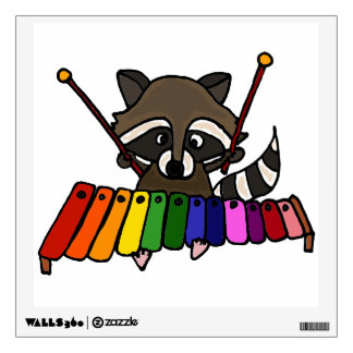 Funny Raccoon Playing Xylophone Wall Sticker