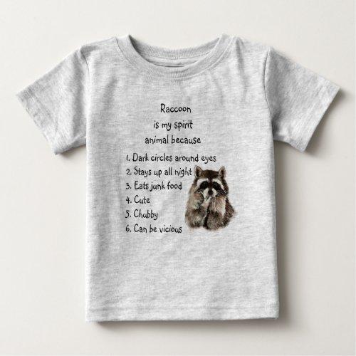 Funny Raccoon Spirit Animal Humor Cute Watercolor Baby T_Shirt