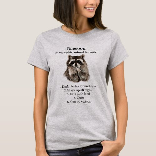 Funny Raccoon Spirit Animal Humor T_Shirt