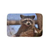Funny Raccoon Sticking It's Tongue Out Bathroom Mat