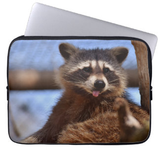 Funny Raccoon Sticking It's Tongue Out Computer Sleeve