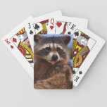 "Funny Raccoon Sticking It&#39;s Tongue Out Playing Cards<br><div class=""desc"">Fantastic funny animal photograph to custom with an amusing caption. Cute raccoon almost playfully sticking it&#39;s tongue out.</div>"