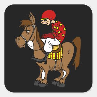 Funny racing horse cartoon square sticker