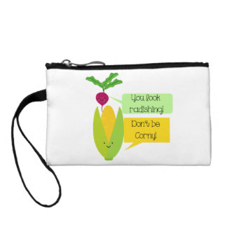 Funny Radish and Corn Vegetable Humor Coin Purse