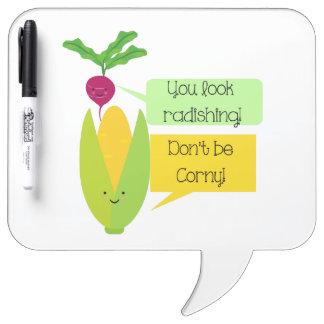 Funny Radish and Corn Vegetable Humor Dry Erase Board