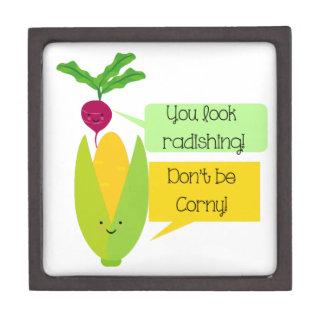 Funny Radish and Corn Vegetable Humor Gift Box