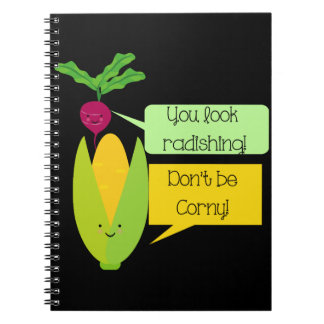 Funny Radish and Corn Vegetable Humor Notebook