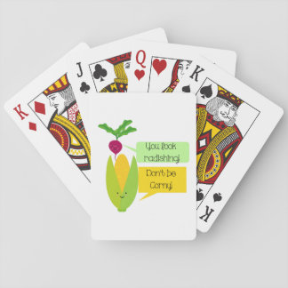 Funny Radish and Corn Vegetable Humor Playing Cards