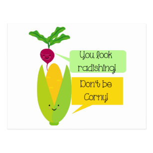 Funny Radish and Corn Vegetable Humor Postcard