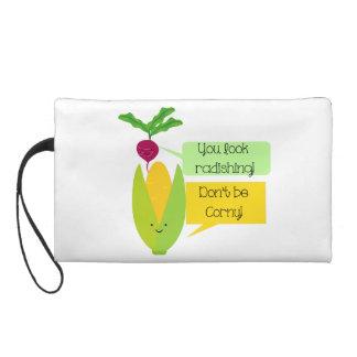 Funny Radish and Corn Vegetable Humor Wristlet Purse