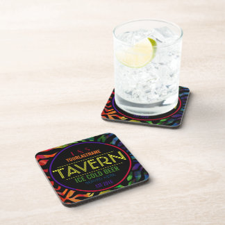 Funny Rainbow Couple Personalized Tavern Drink Coaster