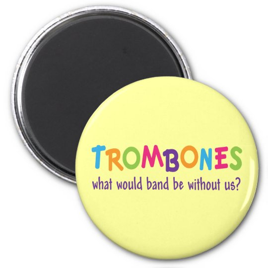 Funny Rainbow Trombone Band Gift Magnet