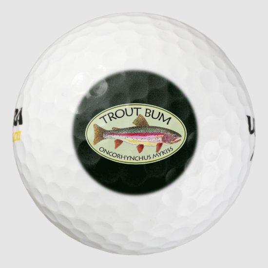 Funny Rainbow Trout Bum Fishing Golf Balls