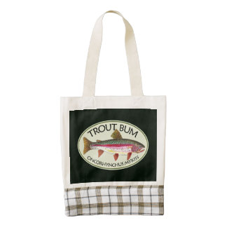 Funny Rainbow Trout Bum Fishing Zazzle HEART Tote Bag