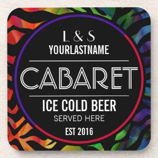 Funny Rainbow Zebra Cabaret Beverage Coaster