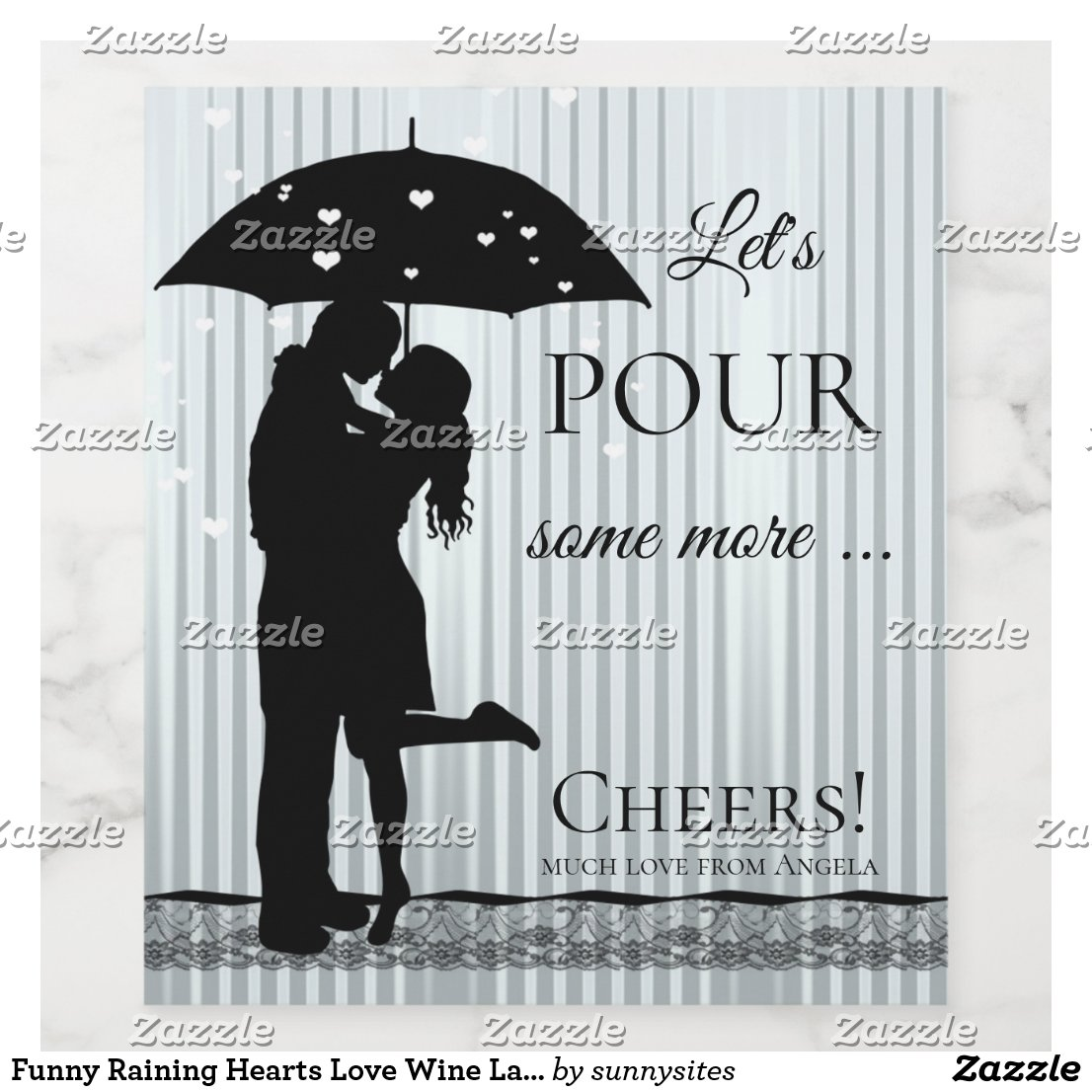 Funny Raining Hearts Love Wine Label