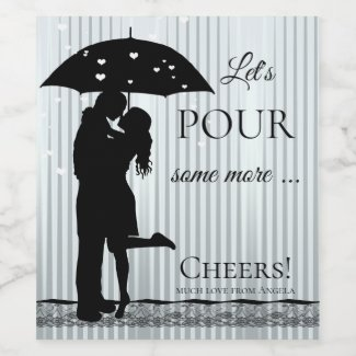 Funny Raining Hearts Love Wine Label