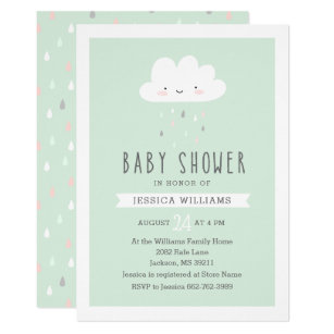 Save 60 on funny baby shower invitations limited time only zazzle funny rainy cloud baby shower invitation in mint filmwisefo