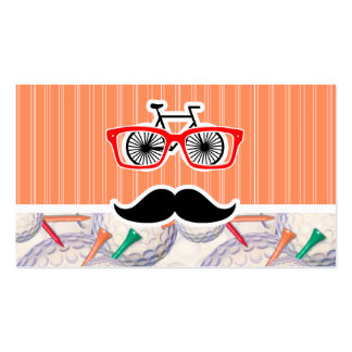 Funny Random Mustache, Golf Balls & Tees Double-Sided Standard Business Cards (Pack Of 100)