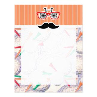 Funny Random Mustache, Golf Balls & Tees Letterhead Design