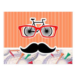 Funny Random Mustache, Golf Balls & Tees Postcard