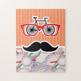 Funny Random Mustache, Golf Balls & Tees Puzzle