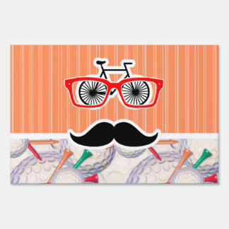 Funny Random Mustache, Golf Balls & Tees Lawn Signs