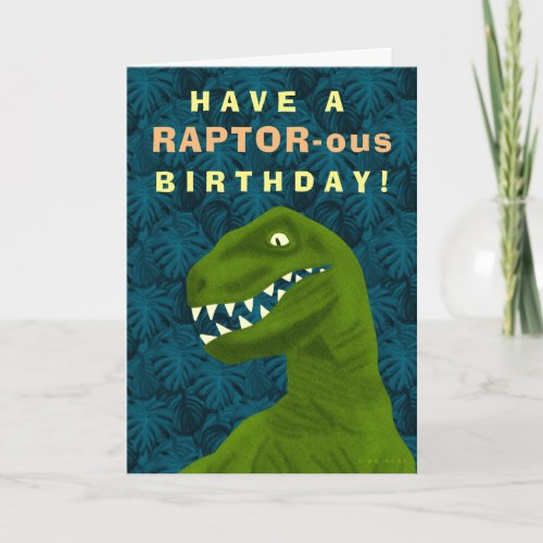 Funny Raptor Dinosaur Happy Birthday Pun Cool Holiday Card