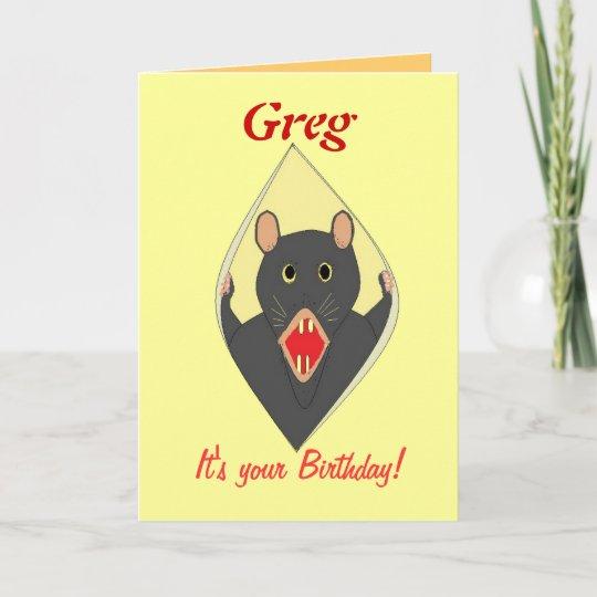 Funny Rat Birthday Card Add Name.