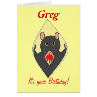 Funny Rat birthday card add name.