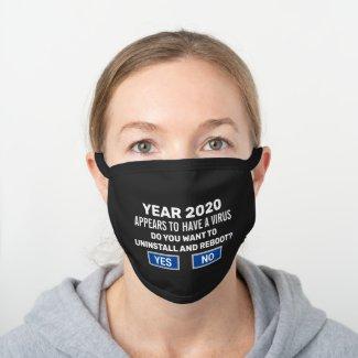 Funny Reboot 2020 Computer Nerd Virus Warning Black Cotton Face Mask