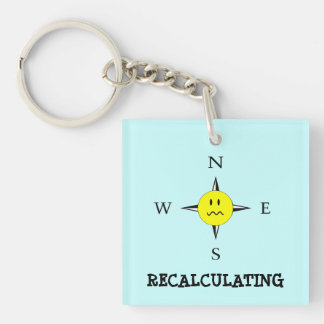 Funny Recalculating GPS Compass Keychain