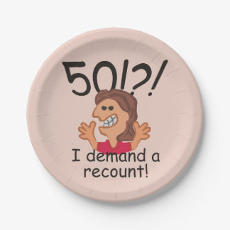 Funny Recount 50th Birthday Paper Plate