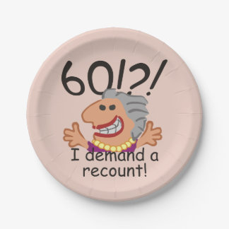 Funny Recount 60th Birthday Paper Plate