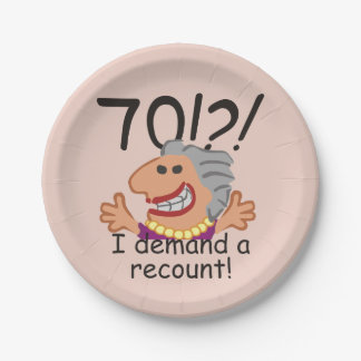 Funny Recount 70th Birthday Paper Plate