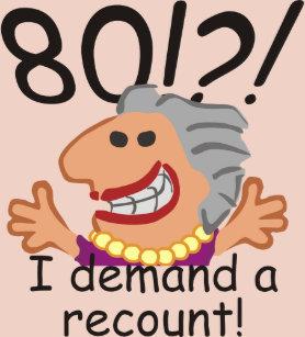 Funny Recount 80th Birthday Cake Topper