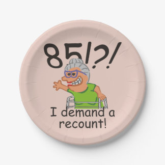Funny Recount 85th Birthday Paper Plate