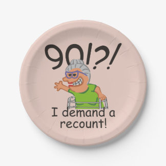 Funny Recount 90th Birthday Paper Plate