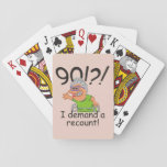 "Funny Recount 90th Birthday Playing Cards<br><div class=""desc"">Humorous 90th birthday cartoon expresses outrage at the passing of time with a 90! I demand a recount caption. Funny gift for 90th birthday celebrations for women at the top of the hill,  over the hill,  or saying what hill? Deep charcoal text (not quite black) with blush pink background.</div>"