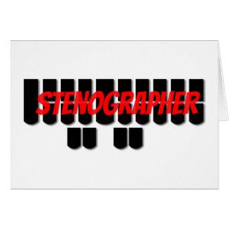 Funny Red and Black Stenographer Steno Machine Card