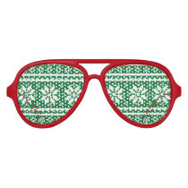 Funny red and green Ugly Christmas Sweater Aviator Sunglasses