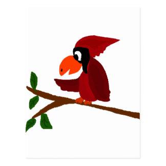 Funny Red Cardinal Bird Art Postcard