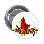 Funny Red Cardinal in Nest with Christmas Lights 2 Inch Round Button