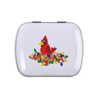Funny Red Cardinal in Nest with Christmas Lights Jelly Belly Tin