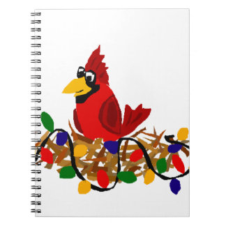 Funny Red Cardinal in Nest with Christmas Lights Spiral Notebook