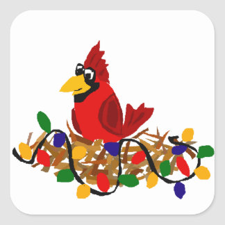 Funny Red Cardinal in Nest with Christmas Lights Square Sticker