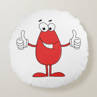 Funny Red Cartoon Round Pillow