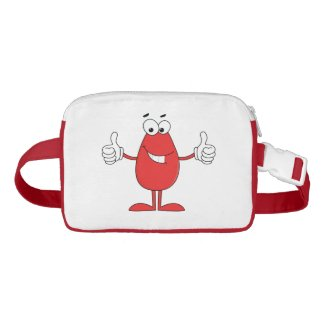 Funny red cartoon with two thumbs up nylon fanny pack